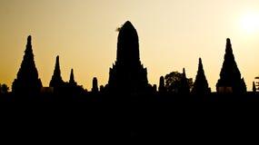 Het landschap van de Pagode van het silhouet Royalty-vrije Stock Foto's