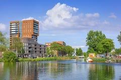 Het landschap van de Piushaven, een enorm gebied naast het stadscentrum van Tilburg, Nederland Stock Fotografie