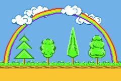 Het landschap van de pixelkunst, achtergrondspel platformer met regenboog, bomen en wolkenvector royalty-vrije illustratie
