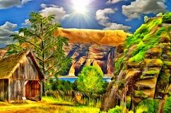 Het landschap van de plattelandshuisjeberg, olie Royalty-vrije Stock Afbeeldingen