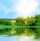 Het landschap van de rivier Stock Afbeelding