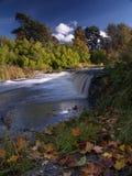 Het landschap van de rivier met dalingen in de herfst Stock Fotografie