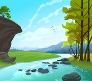 Het Landschap van de rivier, van heuvels en van rotsen Royalty-vrije Stock Afbeeldingen