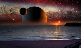 Het landschap van de science fiction Stock Afbeelding