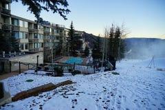 Het landschap van de de skitoevlucht van de sneeuwmassa Royalty-vrije Stock Afbeelding