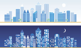 Het landschap van de stad bij dag en nacht. Royalty-vrije Stock Foto
