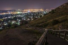 Het Landschap van de stad bij nacht Royalty-vrije Stock Fotografie