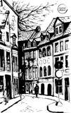 Het landschap van de stad Gemaakt door inkt op papier Stock Foto