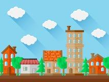 Het landschap van de stad Vlak Ontwerp Royalty-vrije Stock Afbeeldingen