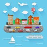 Het landschap van de stad Vlak Ontwerp Royalty-vrije Stock Foto