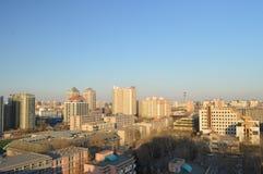 Het landschap van de stadszonsondergang Royalty-vrije Stock Afbeeldingen