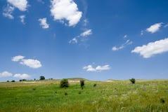 Het landschap van de steppe met wolken Royalty-vrije Stock Foto