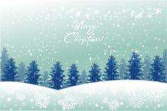 Het landschap van de vakantiewinter op sneeuwvlokachtergrond - vectoreps10 Royalty-vrije Stock Fotografie