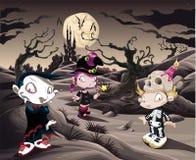 Het landschap van de verschrikking met karakters. ìì Stock Afbeelding