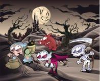 Het landschap van de verschrikking met karakters. ìì stock foto