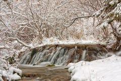 Het Landschap van de watervalwinter Stock Foto's