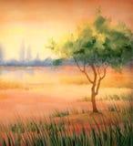Het landschap van de waterverf boom bij meer royalty-vrije illustratie
