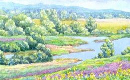 Het landschap van de waterverf De zomerrivier in de weiden van de vallei royalty-vrije illustratie