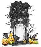 Het landschap van de waterverf Oud graf, vakantiepompoenen en troep van knuppels Halloween-vakantieillustratie Magisch, symbool v royalty-vrije illustratie