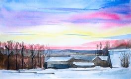 Het landschap van de waterverf De winterzonsondergang in het dorp onder de bomen royalty-vrije illustratie