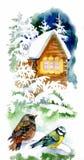 Het landschap van de waterverfwinter met sneeuwhuis met vogelsillustratie vector illustratie
