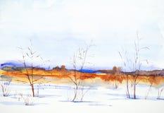Het landschap van de waterverfwinter Snow-covered vallei en bomen stock illustratie