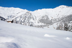 Het landschap van de winter in Adelboden Stock Foto