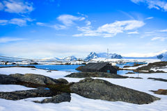 Het landschap van de winter in Antarctica Stock Foto
