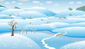 Het Landschap van de winter, beeldverhaal Stock Afbeeldingen