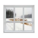 Het landschap van de winter dat door het venster wordt gezien Royalty-vrije Stock Foto's