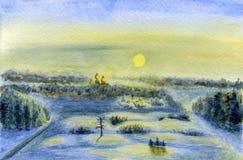 Het landschap van de winter Dawn, zon en aangestoken sneeuw Stock Foto