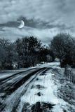 Het landschap van de winter in de nacht Royalty-vrije Stock Fotografie