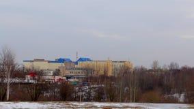 Het landschap van de winter Industriezone van de stad Sityscape stock footage