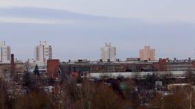 Het landschap van de winter Industriezone van de stad Sityscape stock video