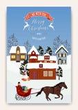Het landschap van de winter Kerstbomen en huizen Sneeuwman Vrolijke Kerstmis en een Gelukkig Nieuwjaar stock illustratie