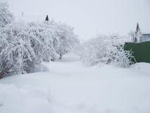 Het landschap van de winter Landelijke die weg met sneeuw en afwijkingen wordt behandeld royalty-vrije stock foto's