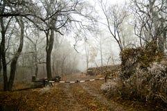 Het landschap van de winter met barrière. Royalty-vrije Stock Afbeeldingen