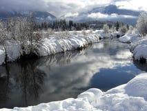 Het landschap van de winter met blauwe hemel die in een riv nadenkt Stock Foto