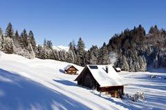 Het landschap van de winter met blokhuis stock afbeelding