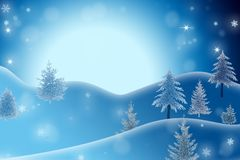 Het landschap van de winter met bomen Royalty-vrije Stock Afbeeldingen