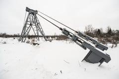 Het landschap van de winter met de brug Stock Afbeeldingen
