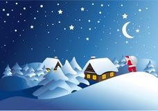 Het landschap van de winter met de Kerstman Royalty-vrije Stock Afbeelding