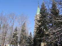 Het landschap van de winter met een kerk stock fotografie