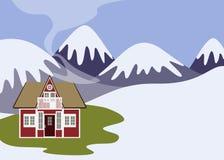 Het landschap van de winter met huis royalty-vrije stock afbeelding