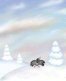 Het landschap van de winter met kraai Royalty-vrije Stock Afbeelding