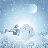 Het landschap van de winter met maan. Royalty-vrije Stock Afbeeldingen