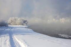 Het landschap van de winter met sneeuw Stock Fotografie