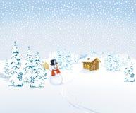 Het landschap van de winter met sneeuwman Stock Afbeelding