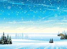 Het landschap van de winter met sneeuwval Royalty-vrije Stock Afbeelding