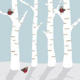Het landschap van de winter met vogels Stock Afbeelding